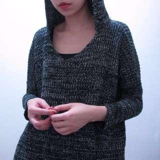 🚚 混色連帽粗針織長版毛衣