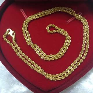 916 Gold Necklace Rope 46cm👉Cash On Delivery👈