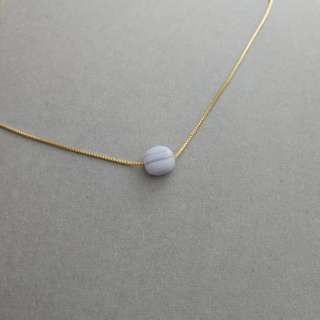 Natural blue lace agate necklace/pendant (925 silver with gold plated)