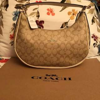 Authentic Coach Signature  EAST/WEST HARLEY HOBO BAG
