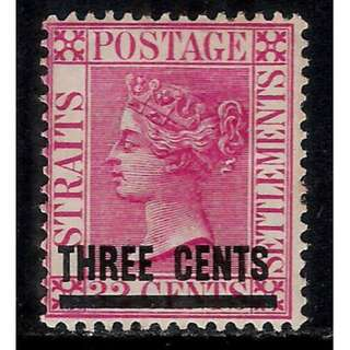 STRAITS SETTLEMENTS 1885 QV Mint Stamp with Ovpt BL585