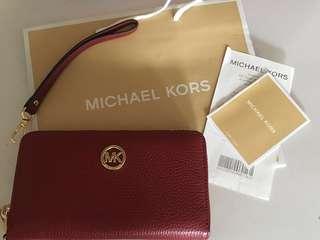 Authentic Brand New Michael Kors Maroon Wristlet
