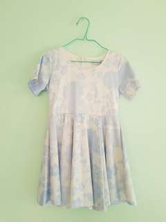 Pastel Blue Floral Babydoll Dress
