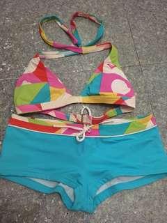 Two piece boy leg Roxy swimwear, Medium size