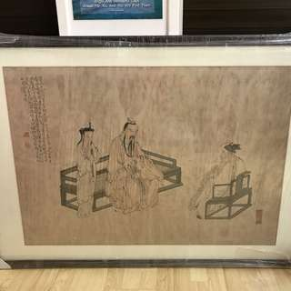 {Collectibles Item - Ink Painting} 清朝古画 Qing Dynasty Chinese Ancient Ink Painting On Paper On Frame -【楚邱會友圖】 框画長50.5寸(138cm) 寛35.5寸(88cm) - 黄慎, 【1687年-1772年】,初名盛,字恭壽、恭懋,号癭瓢子,東海布衣等,福建寧化人,清代畫家。为揚州八怪之一。