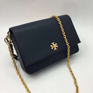 Tory Burch Kira Double Straps Shoulder Bag- navy blue