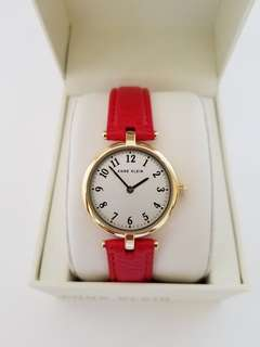 Anne Klein Womens Gold Tone Red Leather