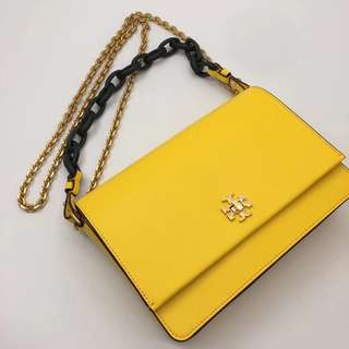 Tory Burch Kira Double Straps Shoulder Bag - yellow