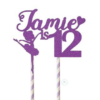 Customized Personalize Cake topper Birthday Party Decoration Glitter Purple