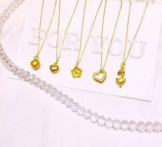 pure gold 硬金999 one set pendany 999 Necklace 18k