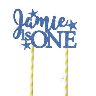 Customized Personalize Cake topper Birthday Party Decoration Glitter Blue star