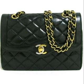 Preloved RARE Chanel Vintage Gold & Silver hardware double flap bag