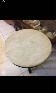 Teakwood Marble Round Coffee Table