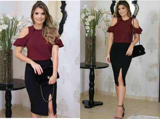 Online Sale: P350 only !!!  💋Maroon Top & Black Skirt Terno  💫Blend cotton top, stretch  💫Air cotton skirt, thick stretch  💫Ruffle cold shoulder design  💫Garter waist with side slit skirt  💫Free size fits S-semi L 💫Good quality