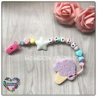 Customized Pacifier Clip with letter beads + lilac ice cream Teether
