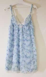 花水藍雪紡睡衣