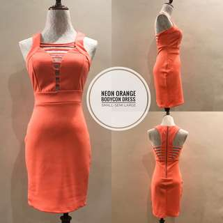 Neon Orange Bodycon Dress
