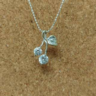 Double jewelled cherry with leaf pendant with silver beaded chain necklace