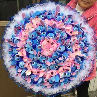 99 Mix Blue And Pink Stitches + Blue Wrapper Bouquet