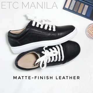 Italian Black and White Sneakers Leather Rubber Shoes