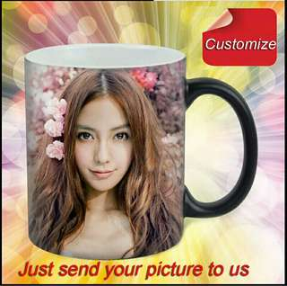 🆕🆒 DIY Photo Magic Color Changing Coffee Mug custom your photo on Tea cup Black color best gift for friends