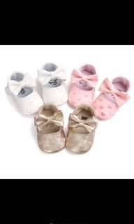 Baby Girl Shoes Heart Ribbon Cute Pink White Gold First Walkers Soft [PO]