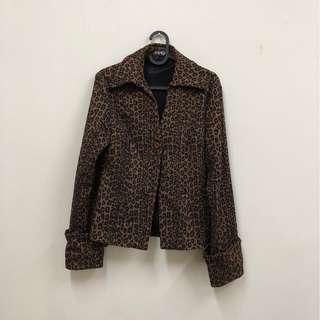 🚚 豹紋 咖啡色 立領西裝外套 古著 二手