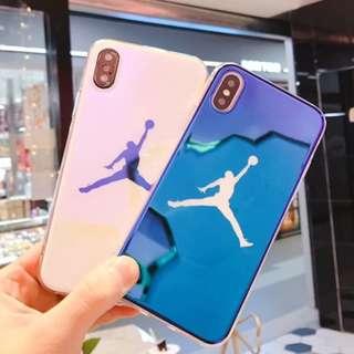 手機殼IPhone6/7/8/plus/X : 籃球Jordan藍光全包邊軟殼