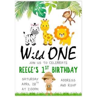 Safari Boy Birthday Invitation eCard