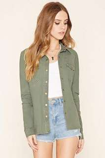 F21 Forever 21 Army Green Snap Button Jacket