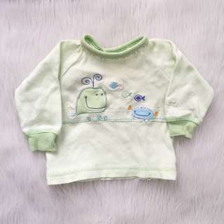 Baby Boy Newborn-1M Green Longsleeve Shirt Top