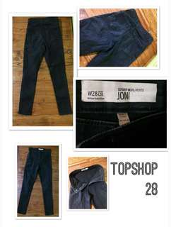 Topshop Black Moto Petite Joni Jeans Made in Turkey W28 L28