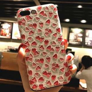 滿屏草莓\花朵小貓浮雕硅膠iphone手機軟殼