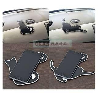 🚚 權世界@汽車用品 日本進口SEIWA 黑貓造型 儀表板 止滑墊 防滑墊 W951-兩種樣式選擇