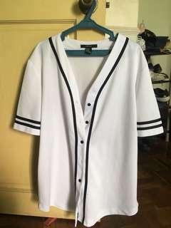 Forever 21 White Baseball Jersey