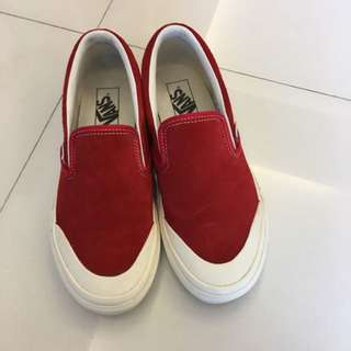 Vans x Billy's classic slip on 麂皮紅色懶人鞋 us 6