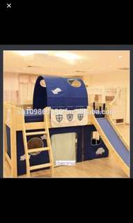 Boy bunk bed with slide and ladder