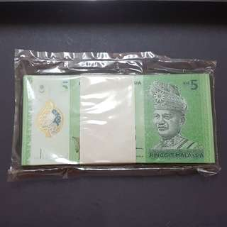 100 PCS RM5.00 BANKNOTE SEALED