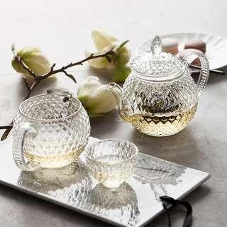 Vintage Crisscross Lace Glass Teapot