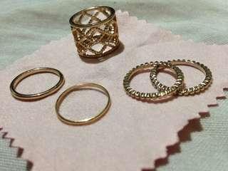 size 6 - 5 pcs stack ring gold