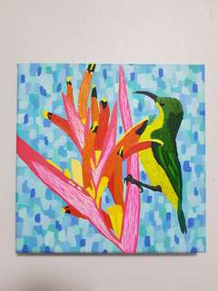 Original Art : Sunbird with heliconia