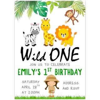 Safari Girl Birthday Invitation eCard