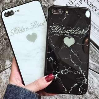 手機殼IPhone6/7/8/plus/X : 愛心大理石字母全包黑邊玻璃背板殼