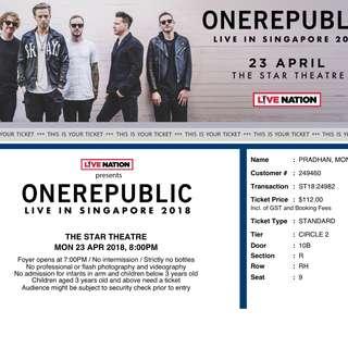 ONEREPUBLIC LIVE CONCERT- 2 tickets