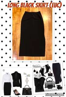 Long Black Skirt with Inside Lining and Side Slit (Size 40)