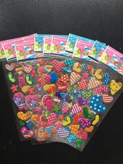 (Bundle of 10 sheets)kids stickers-3D, ❤️ &Star