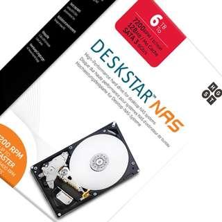 "HGST DeskStar NAS 3.5"" 6TB 7200 RPM 128MB Cache SATA 6.0Gb/s High-Performance Hard Drive for Desktop NAS Systems Retail Packaging 0S04007"