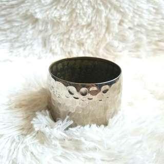 Mango Wide Silver Bracelet with Pressed Dots Design