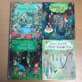 🚚 #In Stock# Peep Inside a Fairy Tale 4 Books (Little Riding Hood/Beauty and Beauty/Sleeping Beauty/Peter Rabbit)
