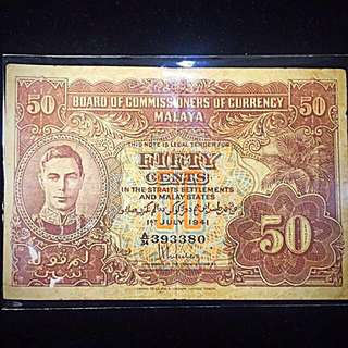 1941 Straits Settlements Malaya States King George VI 50-Cents Banknote Circulated